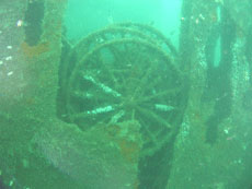 Wooden wheels still can be found on the wreck
